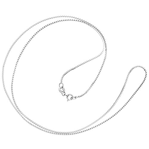 14K Solid White Gold Necklace | Box Link Chain | 20 Inch Length | 1.0mm Thick | With Gift Box