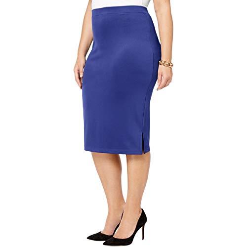 Kasper Women's Plus Size Midi Slim Skirt with Side Slits, iris, 2X