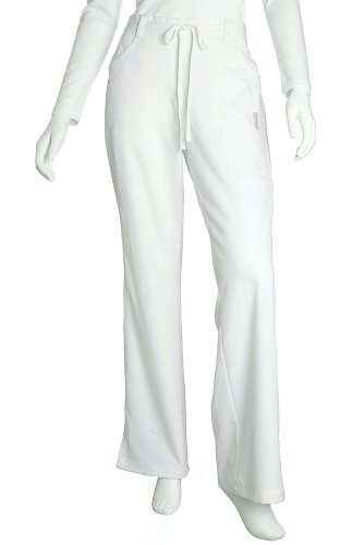 (NrG by Barco Women's Junior Fit 4 Pocket Tie Front Straight Leg Scrub Pant, White, Small)