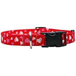 """Red Hearts Dog Collar - Size Small 10"""" to 14"""" Long - Made In The USA"""
