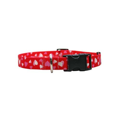 Red Hearts Dog Collar - Size Medium 14