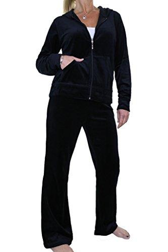 - ICE (6474-1) Fuller Figure Curvy Womens Hooded Luxury Velour Tracksuit Black (3XL)