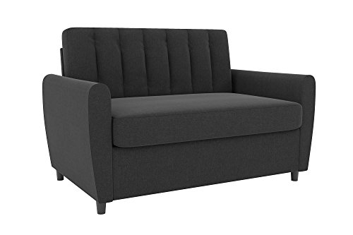 Novogratz Brittany Sleeper Sofa with Memory Foam Mattress, Dark Grey Linen, Twin -