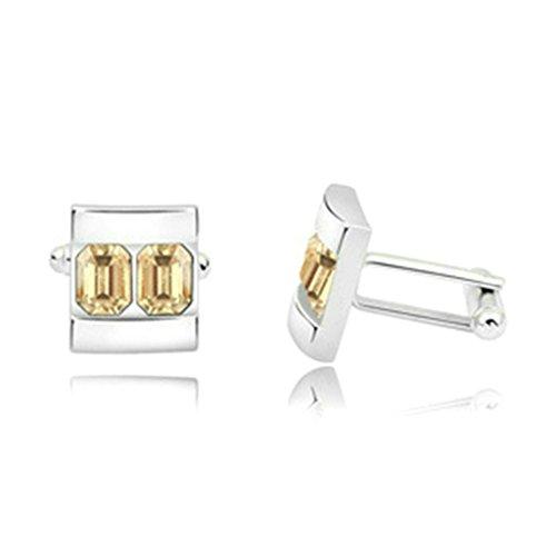 Aooaz Silver Plated Cufflinks Square Gold Crystal Cuff Links For Men Women Wedding 1.7CM1.5CM2.2CM