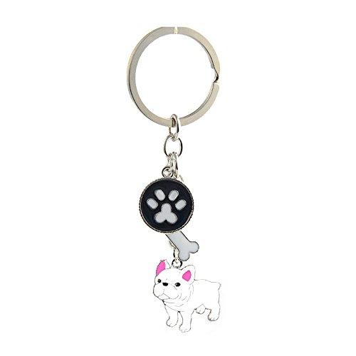 Key-ring Keychain,Cute Metal Small Dog Puppy Keychain Keyring Keyfob Car Bag Charm Dog Tag Chains Birthday Christmas Gift (White French Bulldog)