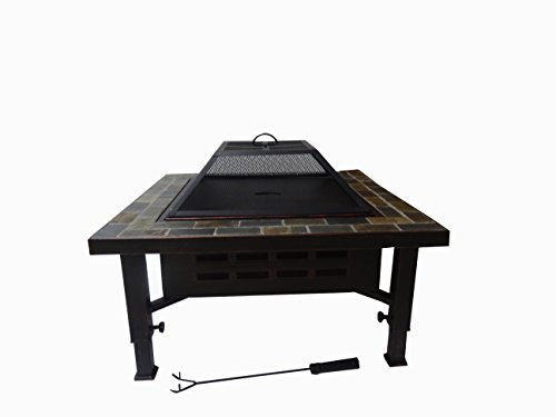 Global Outdoors 34-in Adjustable Leg Square Slate Top Fire Pit with Spark Screen, Weather Resistant Cover and Safety Poker
