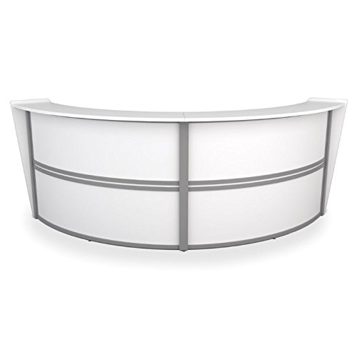 OFM Marque Series Double Unit Curved Reception Desk in White by OFM