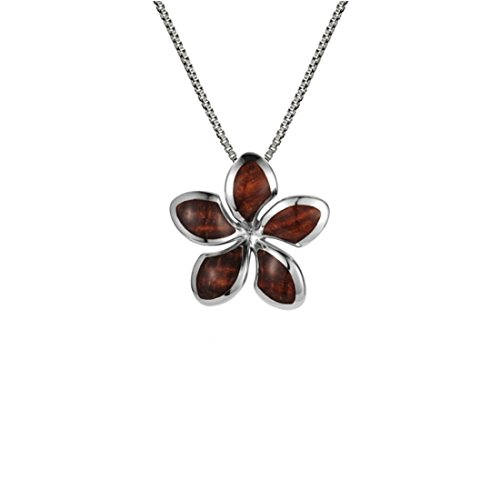 Sterling Silver 925 Genuine Koa Wood Fancy Hawaiian Plumeria Flower Pendant With 18
