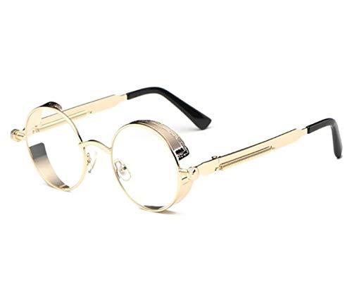 los hombres Fashion para la viajar para protectoras Round Glasses al Frame Golden UV400 Men Women gafas de Golden decoración libre aire dXAwx5qg4