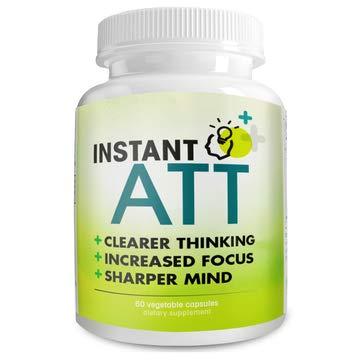 InstantATT - Complete All-Natural Pure Brain, Focus, Memory Supplement. 60 Capsules