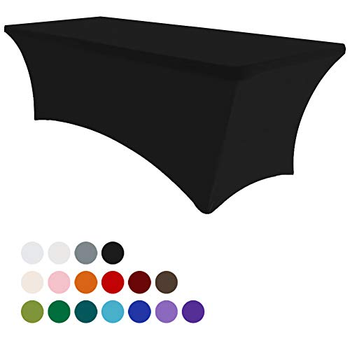 Eurmax 6Ft Rectangular Fitted Spandex Tablecloths Wedding Party Table Covers Event Stretchable Tablecloth (Black)]()
