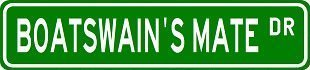 3 Pack: BOATSWAIN'S MATE Street Sign Custom Street Signs- Sticker - Construction Toolbox, Hardhat, Lunchbox, Helmet, Mechanic, Luggage, Skateboard, Surfboard, Bumper