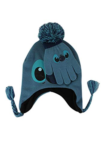 o and Stitch Knit Winter Hat and Glove Set, Blue, One Size ()