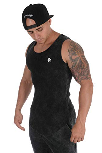 YoungLA Tank Tops for Men | Workout Muscle Shirts | Gym Athletic Bodybuilding Clothing | Ribbed Cotton Raw Edges | 314 Black Acid Wash Large