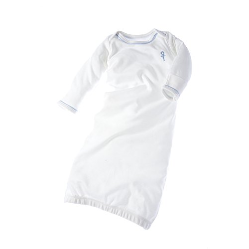 little pharo 100% Extra-Long Staple Egyptian Cotton Bundler Nightgown (ivory with blue piping, size 3-6 months)]()