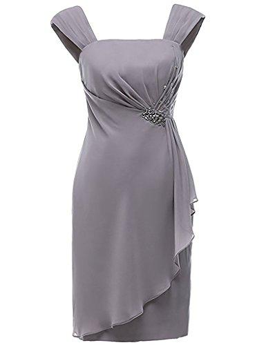 Cocktailkleid HUINI Jacke Pfau Brautmutter Ballkleid Abendkleid Hochzeitskleid Perlen mit Kleid Chiffon Kurz UURwvgBqx
