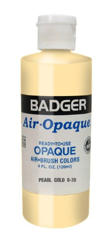 Paint Pearl Gold (Badger Air-Brush Company Air-Opaque Airbrush Ready Water Based Acrylic Paint, Pearl Gold, 4-Ounce)