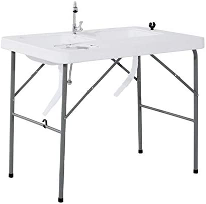 Outsunny Portable Folding Camping Sink Table with Faucet and Dual Water Basins, Outdoor Fish Table Sink, 40