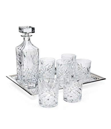 Godinger Dublin Crystal 7 Piece Whiskey Set - Includes One Decanter, 6 DOF Glasses