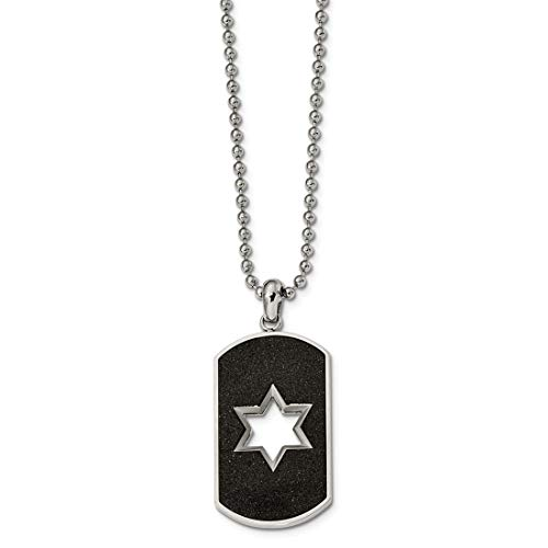 - Jewelry Pilot Stainless Steel Brushed & Polished Finish Laser Cut Star of David Dog Tag Pendant Necklace