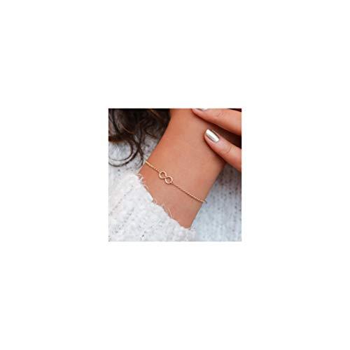 Mevecco Gold Dainty Infinity Bracelet,14K Gold Plated Cute Tiny Delicate Elegant Forever Eternity Love Bracelet for Women