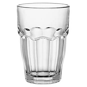 Bormioli Rocco Rock Bar Stackable Beverage Glasses - Set Of 6 Dishwasher Safe Drinking Glasses For Soda, Juice, Milk, Coke, Beer, Spirits - 12.5oz Durable Tempered Glass Water Tumblers For Daily Use