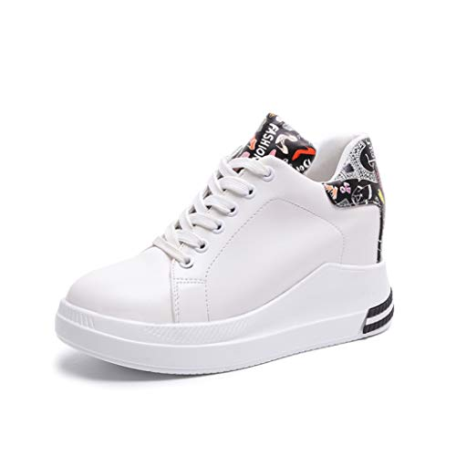 Low Top Wedge Sneakers for Womens Lady Hidden Heel Cross Strap Round Toe Platform Trendy Trainers Shoes White ()