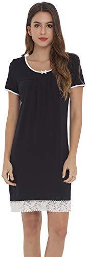LazyCozy Women's Nightgown Scoop Neck Nightshirt Sleep Dress, Black, Large