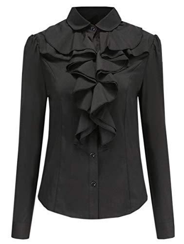 Betusline Women's Elegant Long Sleeve Ruffle Collar OL Tops Blouse T Shirt Black
