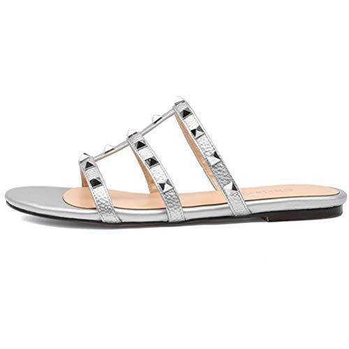 CHRIST Women Mules Slip on Rivets Slides Gold Stud Rivets Sandals Backless Dress Slippers White 12US