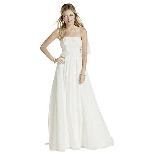 David's Bridal Chiffon Beaded Empire Waist Petite Wedding Dress Style 7V9743, Ivory, ()
