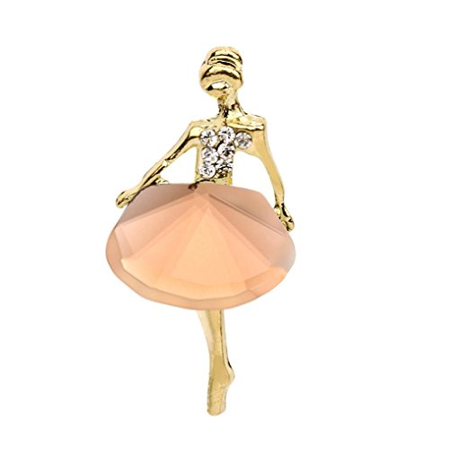 Botrong Ballet Girl Fashion Style Brooch Crystal Brooch (Rose Gold)