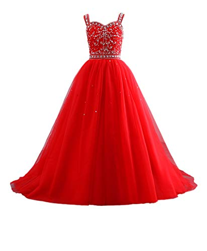 Changuan Princess Beaded Long Girls Pageant Dresses Kids Prom Puffy Tulle Ball Gown Red-14