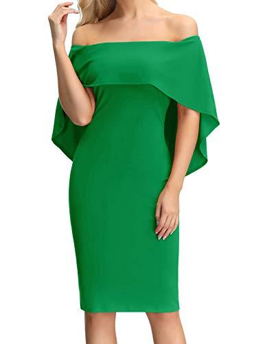 (Women's Vintage Off Shoulder Slim Cocktail Pencil Dress for Party Wedding Green M)