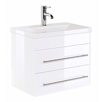 Badezimmermöbel Waschtisch 60cm Mit Unterschrank In Hochglanz Weiß