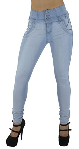 Style M1127- Colombian Design, High Waist, Butt Lift, Levanta Cola, Skinny Jeans in Light Blue Size 1