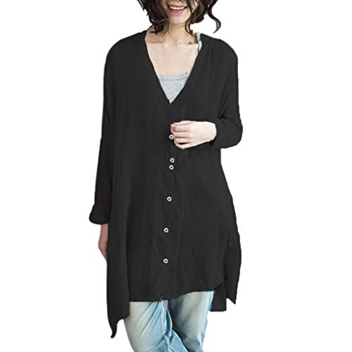 Syban Women Blouse Bohemian Coat Casual Solid Shirt Top Cotton Linen(Large,Z4-Black)