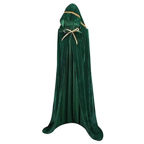 AOFITEE Halloween Full Length Velvet Hooded Cloak Long Cosplay Costumes Cape