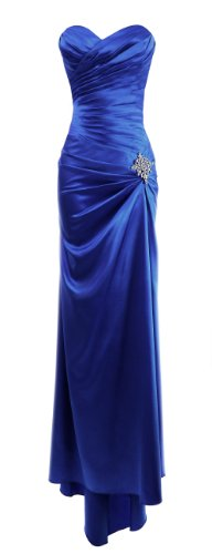 Long Satin Bandage Evening Gown Formal Bridesmaid Prom Dress Brooch - Royal - M