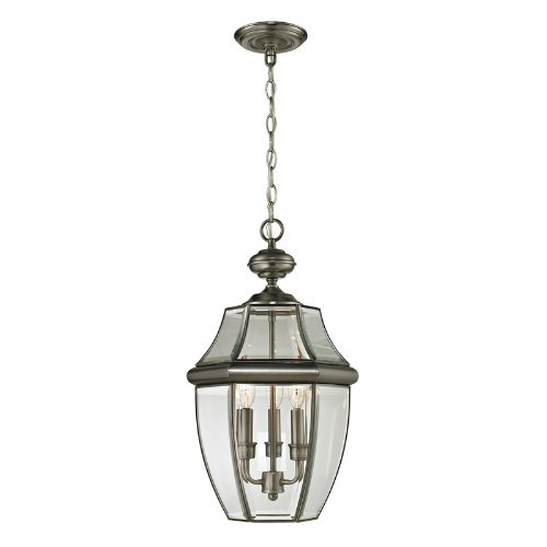 - Cornerstone Lighting 8603EH/80 Ashford 3 Light Exterior Hanging Lantern, Antique Nickel