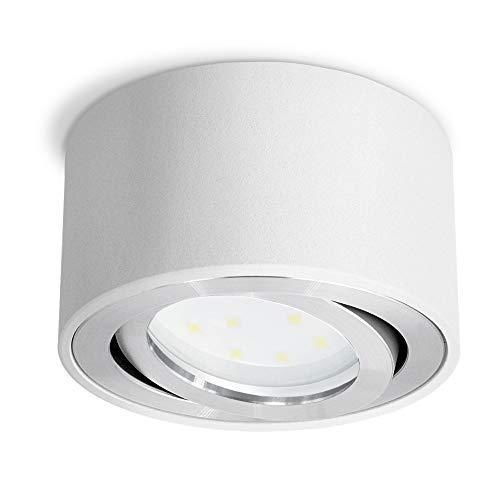 Celi-1W opbouwspot wit, rond en dimbaar – met verwisselbare LED dim module 5W warm wit 230V – opbouwspot plat draaibaar