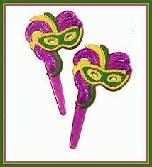 Mardi Gras Mask Cupcake Picks - 12 ct (Toppers Cake Mardi Gras)