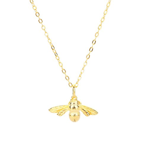 Lureme Sterling Silver Lovely Tiny Honey Bee Pendant Necklace for Women and Girls-Gold (nl005775-1) ()