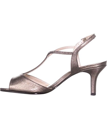 Caparros Womens Delicia Open Toe Formal T-Strap, Mushroom Metallic, Size 5.5
