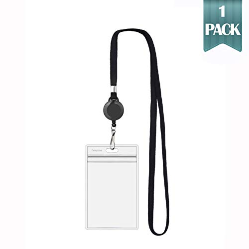 CarryLuxe Lanyard with ID Holder Sets (Black,1 Pack)- Flat Polyester ID Lanyard with Retractable Badge Reel & Vinyl Name Badge Holder