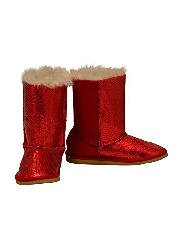 L'Amour Little Girls Red Sequin Embellished Faux Fur Carol Boots 8 Toddler