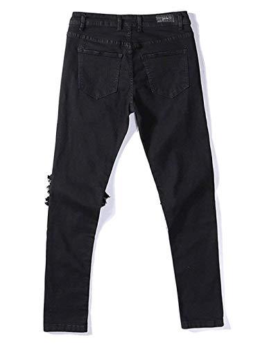 Jeans Pantalones Fit Skinny De Rasgados Mezclilla Elásticos Destruido Slim De Ocasionales La Vendimia Mezclilla Negro De De Los Pantalones Moda Hombres La Pantalones De Vaqueros rr0Zzwq