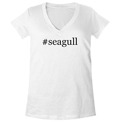 The Town Butler #Seagull - A Soft & Comfortable Women's V-Neck T-Shirt, White, XX-Large