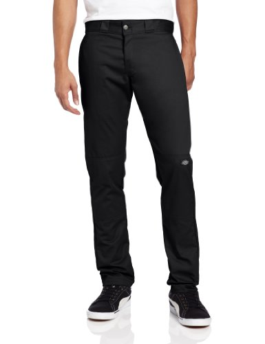 Dickies Men's Skinny Straight Double Knee Work Pant, Black, 32x30