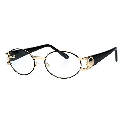 Luxury 90s Gangster Rapper OG Oval Clear Lens Eye Glasses Gold Black (Vintage Ovale Gläser)
